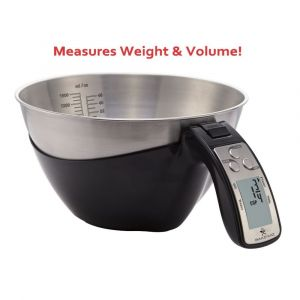 BAKEWIZ Digital Kitchen Food Scale with LED Display and Stainless Steel Bowl