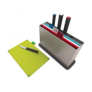 JOSEPH JOSEPH Index Colour Coded Chopping Board Set with Knives