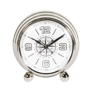 MAXI 16cm Wide Desk Clock with Round White Face - Nickel