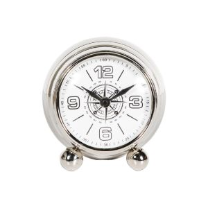 MAXI 13cm Wide Desk Clock with Round White Face - Nickel
