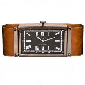 BARNES HIGH STREET 29cm Desk Clock with Leather Band and Rectangular Black Face
