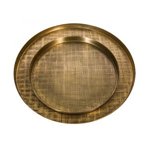 Set of 2 CRISS CROSS 40 and 56cm Wide Serving Trays - Etched Brass Finish