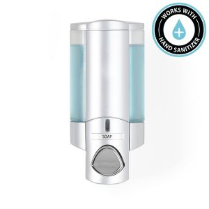 BETTER LIVING AVIVA 300ml Soap and Sanitiser Dispenser 1 - Satin Silver with Translucent Chambers