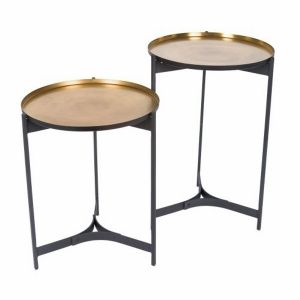Set of 2 JEEVES 51 and 61cm Round Butler Tables - Black Frame  with Brass Top