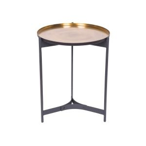 JEEVES Large 61cm Tall Round Butler Table - Black Frame with Brass Top