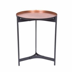 JEEVES Large 61cm Tall Round Butler Table - Black Frame with Copper Top