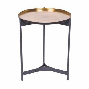JEEVES Small 51cm Tall Round Butler Table - Black Frame with Brass Top