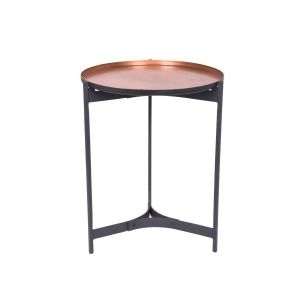 JEEVES Small 51cm Tall Round Butler Table - Black Frame with Copper Top