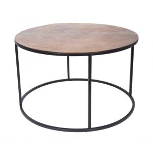 ORBIT 76cm Round Coffee/Occasional Table - Black Frame with Antique Brass Top