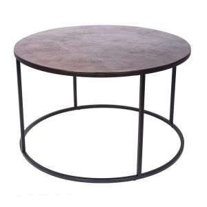 ORBIT 76cm Round Coffee/Occasional Table - Black Frame with Antique Copper Top