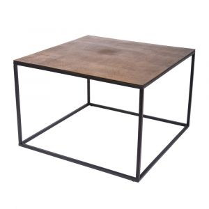 CUBIC 69cm Square Coffee/Occasional Table - Black Frame with Antique Brass Top