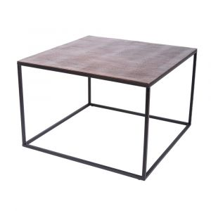 CUBIC 69cm Square Coffee/Occasional Table - Black Frame with Antique Copper Top