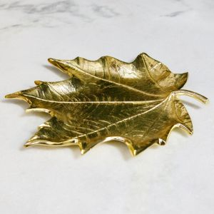 AUTUMN Small 31cm Long Decorative Leaf - Brass