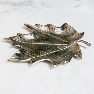 AUTUMN Small 31cm Long Decorative Leaf - Nickel