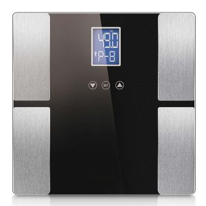 SOGA Digital Glass Bathroom Scales with Dual LCD Display - Black Rectangular Design