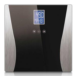 SOGA Digital Bathroom Scales with Dual LCD Display - Black Curved Design