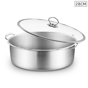 SOGA Stainless Steel 28cm Wide Casserole Dish with Glass Lid