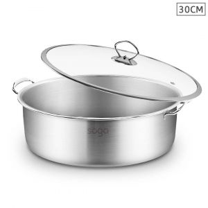SOGA Stainless Steel 30cm Wide Casserole Dish with Glass Lid