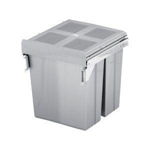ELITE VALET 62L Twin Side Mounted Slide-Out Concealed Waste Bin (45cm cupboard)