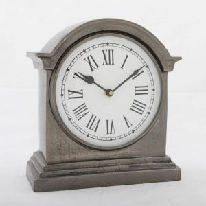 HUTT Large Table Clock with Round White Face - Black Nickel