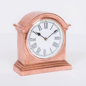 HUTT Large Table Clock with Round White Face - Copper