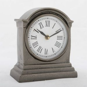 HUTT Small Table Clock with Round White Face - Black Nickel