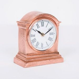 HUTT Small Table Clock with Round White Face - Copper