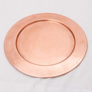 DISCUS Large Round 35cm Wide Serving Tray - Hammered Copper Finish
