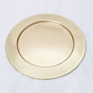 DISCUS Large Round 35cm Wide Serving Tray - Hammered Bronze Finish