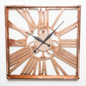 CUBELLO Large 60cm Square Wall Clock with Copper Surround and Numerals