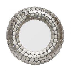 STONE Large 61cm Round Wall Mirror - Matte Silver