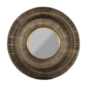 WIRED Large 102cm Wide Round Wall Mirror - Brass