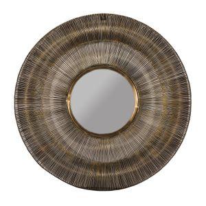 WIRED Medium 76cm Wide Round Wall Mirror - Brass