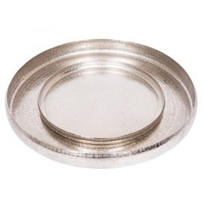 Set of 2 LENNOX Round 40 and 60cm Serving Trays - Hammered Antique Nickel Finish