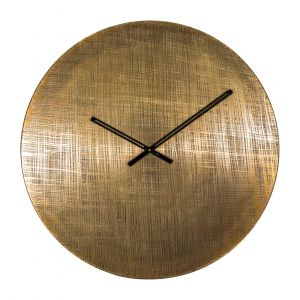 ETCHA 76cm Wide Round Wall Clock - Etched Antique Brass