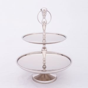 CHARLOTTE 40cm Tall 2 Tier Cake Stand - Polished Steel