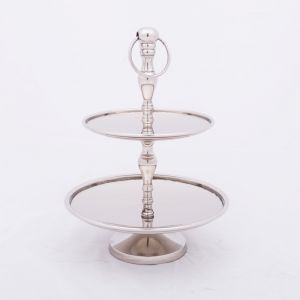 CHARLOTTE 35cm Tall 2 Tier Cake Stand - Polished Steel