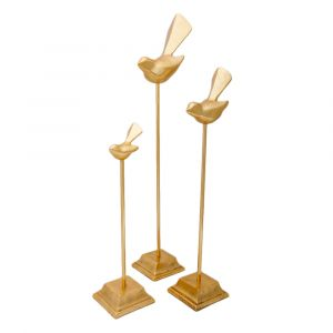 Set of 3 TWEET 44, 52 and 65cm Tall Decorative Birds on Stands - Gold
