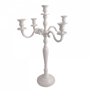 CHRISTINE Large 80cm Tall 5 Candle Candelabra - White