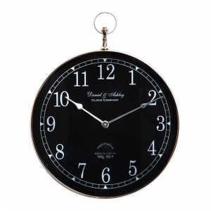 DANIEL & ASHLEY Large 60cm Round Wall Clock with Nickel Surround and Black Face