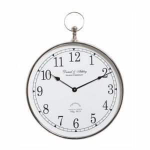 DANIEL & ASHLEY Large 60cm Round Wall Clock with Nickel Surround and White Face