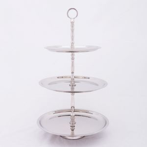 KATE 52cm Tall 3 Tier Cake Stand - Polished Steel