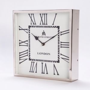 BOND STREET Small 31cm Square Wall Clock with Nickel Surround and White Face