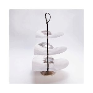 VALENTINO 52cm Tall 3 Tier Cake Stand - Polished Steel