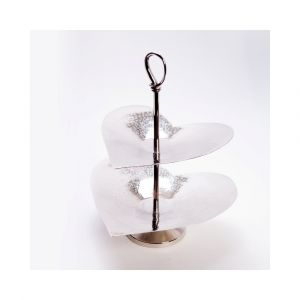 VALENTINO 36cm Tall 2 Tier Cake Stand - Polished Steel