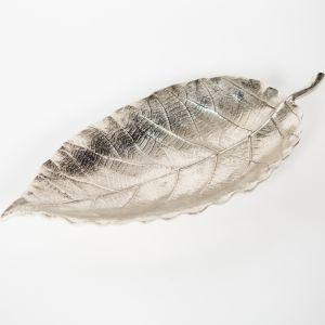 EVERGREEN Large 43cm Long Decorative Leaf - Nickel