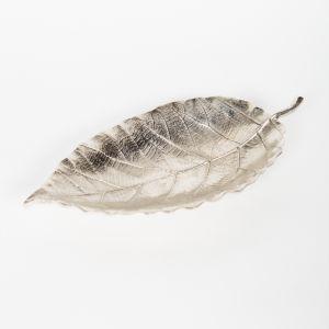 EVERGREEN Small 34cm Long Decorative Leaf - Nickel