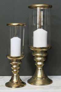 AZAR Large 39cm Tall Hurricane Lamp - Gold