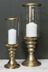 AZAR Small 28cm Tall Hurricane Lamp - Gold