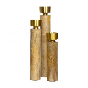 Set of 3 JAMES 23 30 and 38cm Tall Single Candle Holders - Timber and Brass Top
